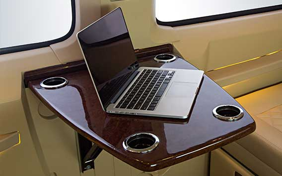 PSV Opisia Modified Tempo Traveller Business Vans Interior Workdesk Laptop